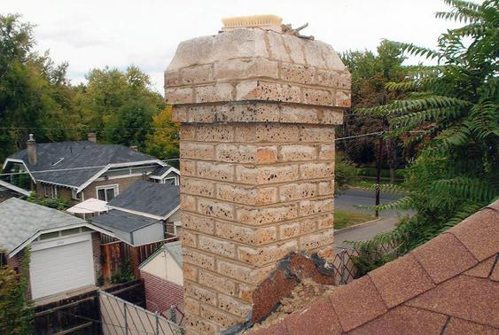 Grind Out All Mortar Joints, Tuck Point Chimney during_brick_chimney_rebuild_11_jpg