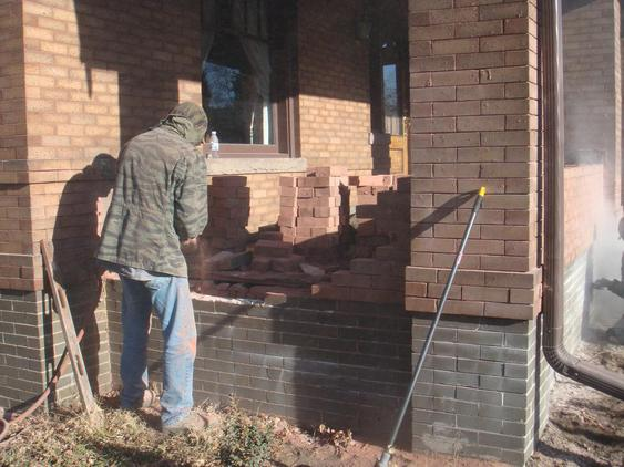 Rebuild Porch Wall, Re-lay Loose Bricks and Stone, Tuckpoint Deteriorating Mortar during_1_24_jpg