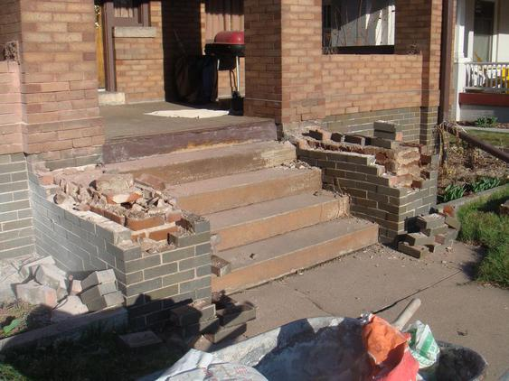 Rebuild Porch Wall, Re-lay Loose Bricks and Stone, Tuckpoint Deteriorating Mortar during_3_24_jpg